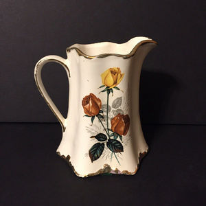 Other - Vintage brown yellow roses pitcher vase